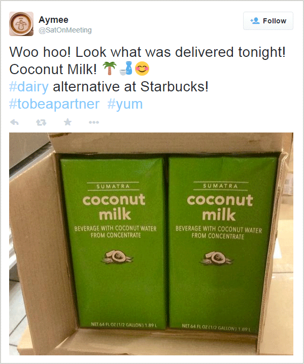 Starbucks coconut milk